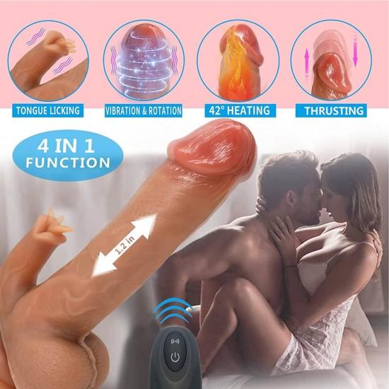 "8.5"" Vibrating Thrusting Dildo Heating Vibrator 7 Thrusting Rotation 10 Vibration Licking Modes Adult Toys India"