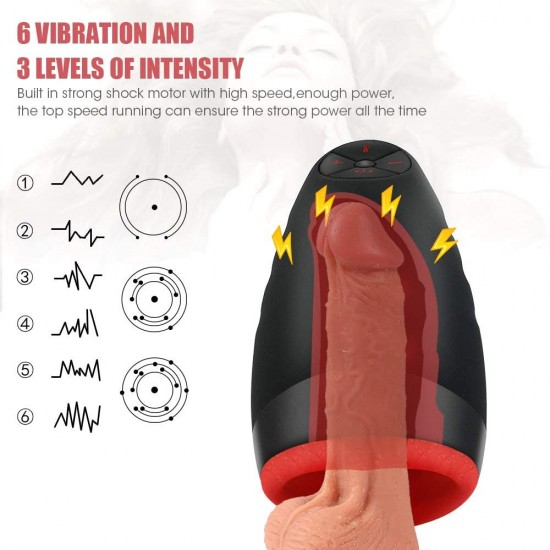 Male Masturbators Oral Sex Heating and Suction 6 Vibration Modes 3 Intensity Levels Waterproof Blow Job Toy India