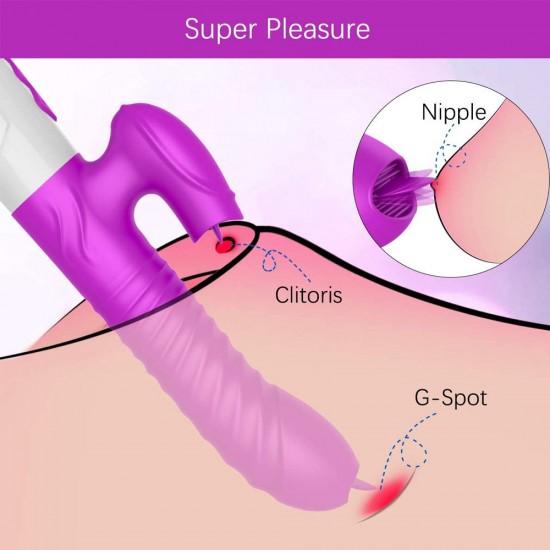 Rabbit Vibrator with 2 Vibrating Tongues Thrusting Sex Toys for Women Clitoris Stimulation India 1